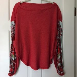 free people red top with decorative sleeves